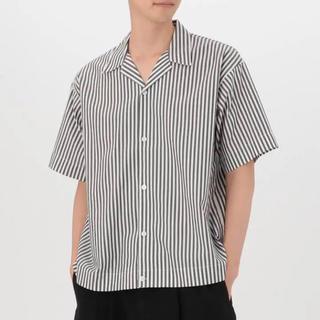 MUJI (無印良品) - MUJI Labo 綿ドロップショルダーストライプ半袖シャツ