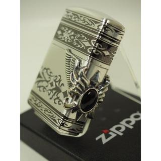 ジッポー(ZIPPO)のZippo アーマー・ストーンウィングメタル /オニキス 黒/3面(タバコグッズ)