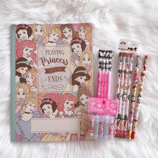 ディズニー(Disney)の文房具❁まとめ売り プリンセス 筆箱 鉛筆 キャップ ノート  (鉛筆)