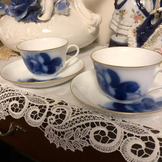 オオクラトウエン(大倉陶園)の大倉陶園  ブルーローズ碗皿2客セット(食器)