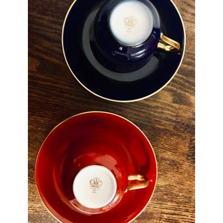 オオクラトウエン(大倉陶園)の大倉陶園 OKURA デミタスカップ ソーサーペア 濃赤 濃青 貴重(食器)