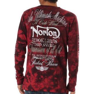 ノートン(Norton)のNorton ノートン 長袖Tシャツ 袖ビッグロゴ ムラ染め 赤 M 未使用(Tシャツ/カットソー(七分/長袖))