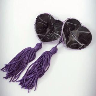 ペイスティタッセル パープルヌーブラ素材アクセ感覚のハート型スパンコールニプレス(小道具)