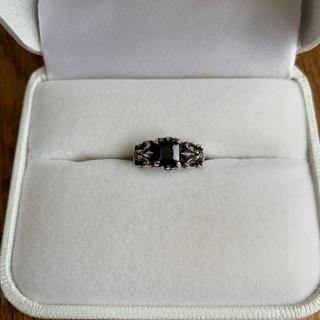 百合の紋章 オニキス シルバー925ピンキーリング:ファラジリング(リング(指輪))