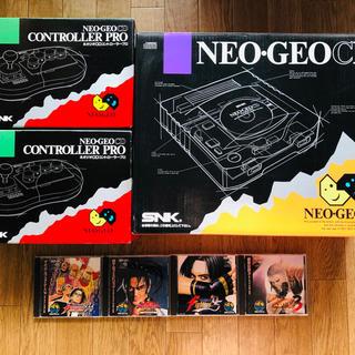 ネオジオ(NEOGEO)のネオジオCD本体+ソフト4本(家庭用ゲーム本体)