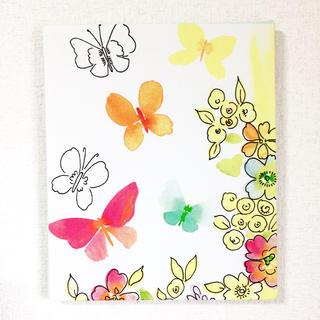 蝶々とお花のファブリックパネル(ファブリック)