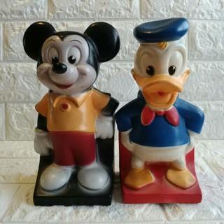 ディズニー(Disney)の当時物★ハワイ★レトロ★ミッキーマウス&ドナルド★貯金箱(置物)