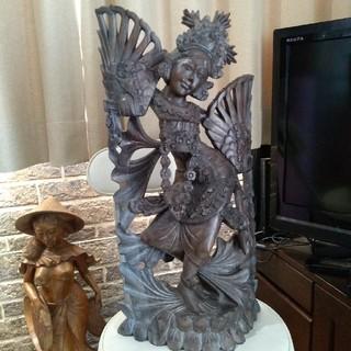 バリ島 木彫り アンティーク女神(彫刻/オブジェ)