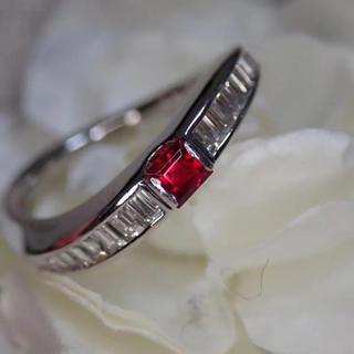 真紅のレッドベリル0.143ct プラチナリング(リング(指輪))
