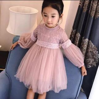 4f9cef9beaa1a 新品 120cm 長袖刺繍レースベビードレスワンピース♡ピンク(ドレス フォーマル)