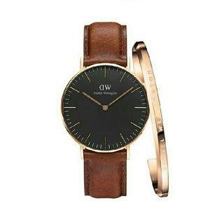 ダニエルウェリントン(Daniel Wellington)の大人気 ブラウン40MM ダニエルウェリントン 腕時計とバングル セット(腕時計(アナログ))