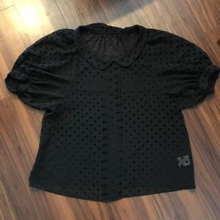 イネド(INED)のINED 黒 丸襟ブラウス シフォン(シャツ/ブラウス(半袖/袖なし))