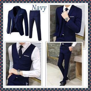 【3点セット♪】スーツ 3ピース 細身 オルチャン 韓国ネイビー サイズ:2XL(セットアップ)