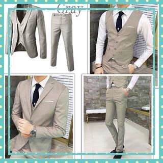 【3点セット♪】スーツ 3ピース 細身 オルチャン 韓国 グレー サイズ:XL(セットアップ)