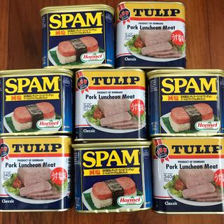 スパム(減塩)4缶、チューリップポーク4缶