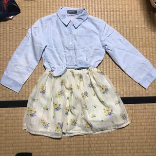 しまむら - 美品★しまむら 切り替えシャツワンピース(110)