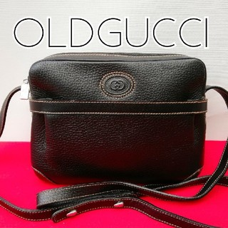 2523a4a73268 グッチ(Gucci)の美品 オールドグッチ ビンテージレザーショルダーバッグ ブラック アンティーク(