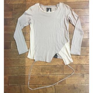 オキラク(OKIRAKU)のOKIRAKU 異素材 変形 デザイン カットソー メンズ 個性的 アシンメトリ(Tシャツ/カットソー(七分/長袖))