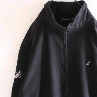 ノーティカ(NAUTICA)のUS 希少 ハーフジップ 黒 刺繍 ジップ フリース ジャケット XL(ブルゾン)