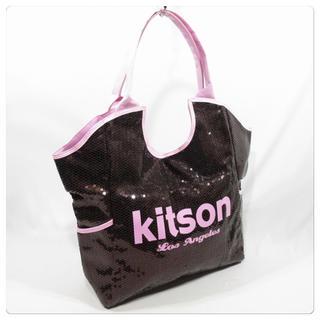 キットソン(KITSON)の美品■キットソン 大型トートバッグ ショルダーバッグ 黒 スパンコール 可愛い(トートバッグ)