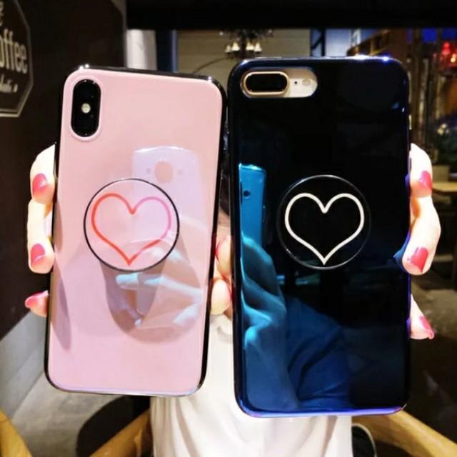 iphonexs ケース 可愛い | ハートマークエアバックスタンド付きiPhoneケース ピンク/藍色の通販 by すなふきん's shop|ラクマ