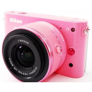 ニコン(Nikon)の❤️コンパクトでめっちゃ可愛い❤️スマホ転送OK❤️Nikon 1J1 ピンク(ミラーレス一眼)