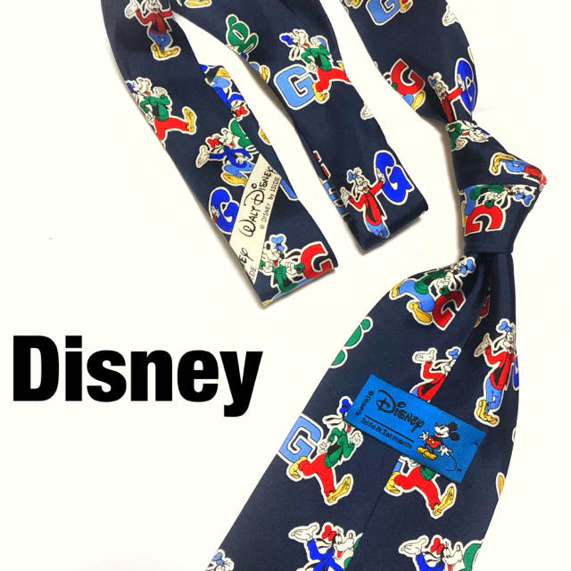 Disney 廃盤ディズニー グーフィー イラスト ネクタイ シルク 剣幅