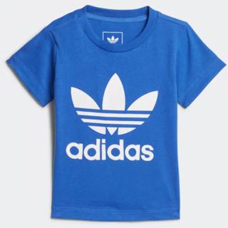 アディダス(adidas)の新品 アディダス ロゴT Tシャツ キッズ ブルー 青 80(Tシャツ)