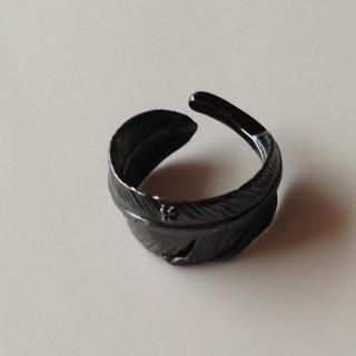 ジャムホームメイドアンドレディメイド(JAM HOME MADE & ready made)のjamhomemade フェザーリング ダイヤモンド ブラック(リング(指輪))