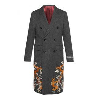 グッチ(Gucci)のGucci EMBROIDERED HERRINGBONE COAT コート(チェスターコート)