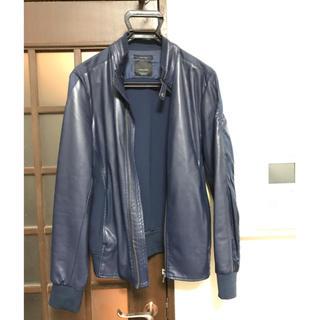 ザラ(ZARA)のZARA フェイクレザージャケット 青紺色 Mサイズ(ライダースジャケット)