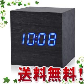 【新生活応援】目覚まし時計 置き時計 音声感知 木目 LED デジタル時計 (その他)