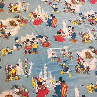 ディズニー(Disney)のミッキー  ミニー 特大フラットシーツ ビンテージ 生地(生地/糸)