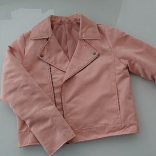 ジーユー(GU)のGU フェイクスエード ライダースジャケット ピンク 美品 (ライダースジャケット)