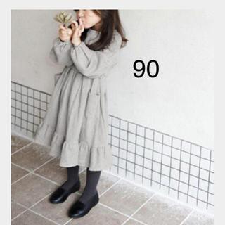 【新品】女の子ワンピース シンプル  グレー90(ワンピース)