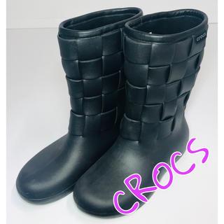クロックス(crocs)の★未使用 CROCS クロックス レインブーツ 黒 サイズ24cm★(レインブーツ/長靴)