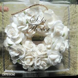 ソラフラワー リース オリジナルローズ 白 新品 未使用 プレゼント 花 壁掛け(お香/香炉)
