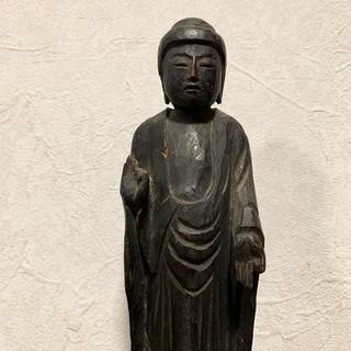 木彫り 阿弥陀如来像 仏像 21cm 手彫り 骨董 時代物(彫刻/オブジェ)