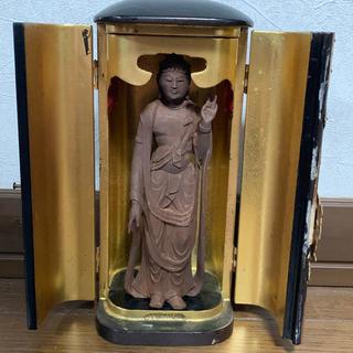 厨子 木彫 観音様 仏像 21cm 骨董 時代物(彫刻/オブジェ)
