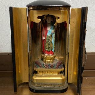 厨子 木彫 地蔵菩薩立像 仏像 21cm 骨董 時代物(彫刻/オブジェ)