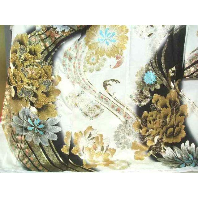 振袖 お仕立て付き 正絹 桂由美 金彩友禅 刺繍 流水花文様 新品 hr242s レディースの水着/浴衣(振袖)の商品写真