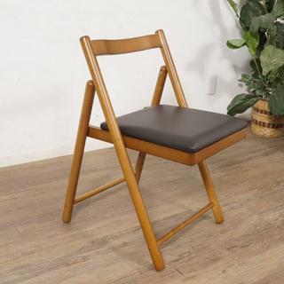 送料無料【新品】革張り フォールディング チェア 折りたたみ 椅子 アウトレット(折り畳みイス)