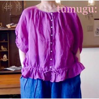 ツムグ(tumugu)のツムグ tumugu ラミーリネンツイル プルオーバー ピンク(シャツ/ブラウス(半袖/袖なし))