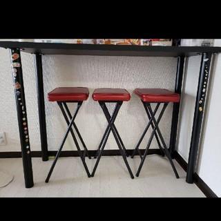 カウンターテーブル×折り畳み椅子3脚(バーテーブル/カウンターテーブル)