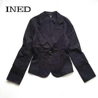 イネド(INED)のイネド★カジュアル コットン テーラードジャケット 9 ネイビー 美シルエット(テーラードジャケット)