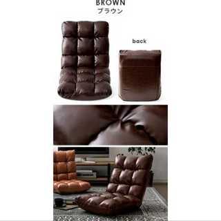 ブラウン/レザー/座椅子/コンパクト/もこもこ/ワンルーム(ロッキングチェア)