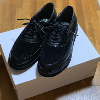 エヘカソポ(ehka sopo)のehka sopo スエード編みレースUPシューズ(ローファー/革靴)
