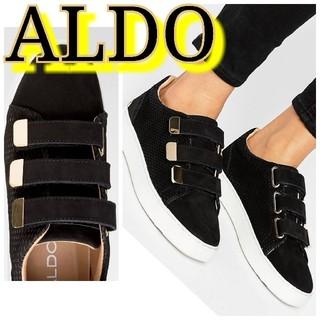 アルド(ALDO)のオーストラリア ALDO アルド 本革 ゴールドプレートスニーカー ブラック 金(スニーカー)