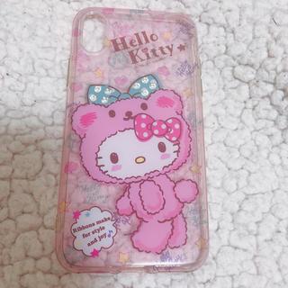 サンリオ(サンリオ)の美品 ピンク ハローキティ かわいい iPhoneXケース スワロフスキー付き(iPhoneケース)