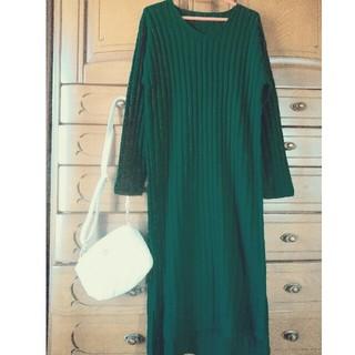 ハニーサックルローズ(HONEYSUCKLE ROSE)の新品未使用!初夏まで着られる!綺麗なグリーンが素敵な人気のロング丈ニットワンピ(ロングワンピース/マキシワンピース)